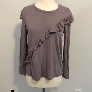 Topshop Tops - Topshop Asymmetrical Ruffle Top Size 6 Purple